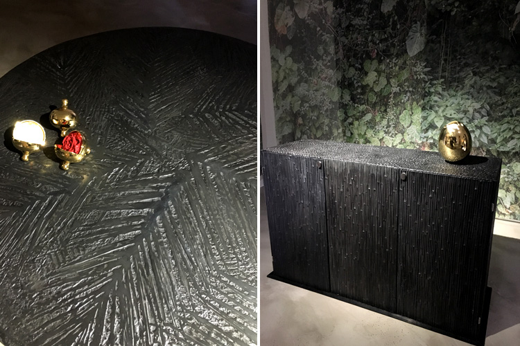 """Canneto 2"" (sideboard in black cast aluminium) and ""Palma"" (round table in black cast aluminium)"