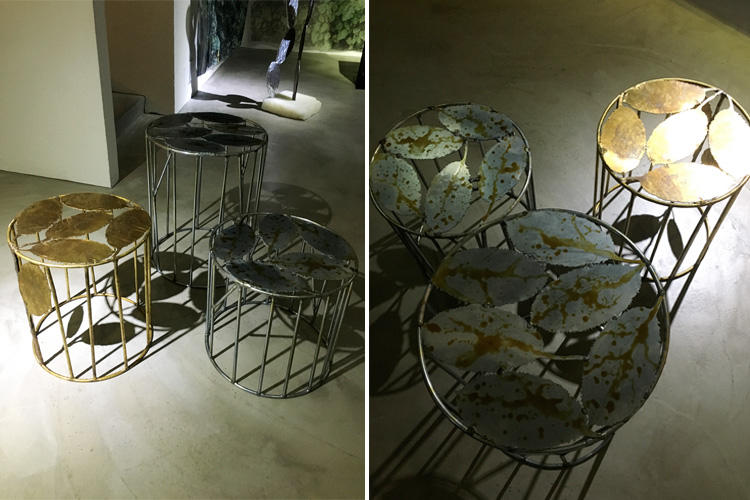 """Melo AT"" Speckled anodised aluminium poufs or side tables"