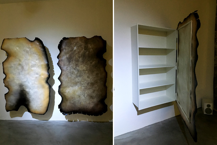 """Burned Paper"" cabinet by Roberto Mora (hand-embossed, blowtorch-cut and powder-coated iron plate)"